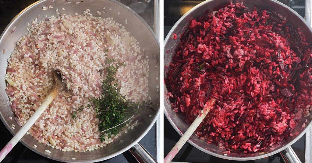 Basis-Risotto zubereiten, später rote Bete untermischen